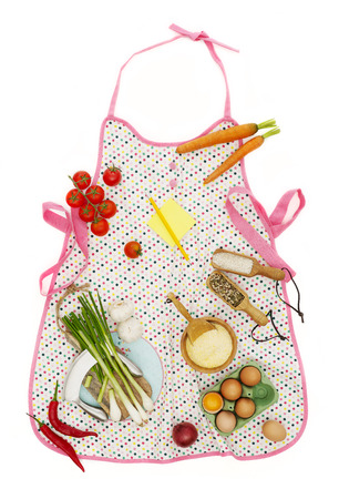 kitchen apron: Kitchen apron and ingredients