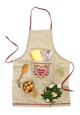chef kitchen: Kitchen apron Stock Photo