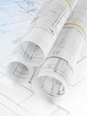 home addition: Blueprints close-up