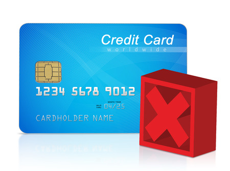 cross mark: Credit card and red cross mark Stock Photo