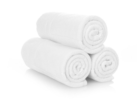 white towels: Rolled up white towels