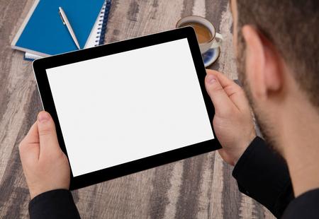 palmtop: Man with digital tablet