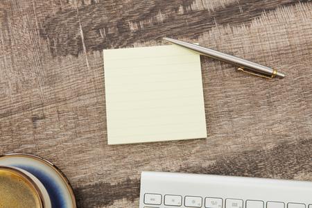 adhesive: Adhesive note on desk Stock Photo