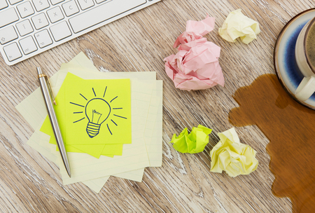 idea bulb: Adhesive notes with lightbulb drawing