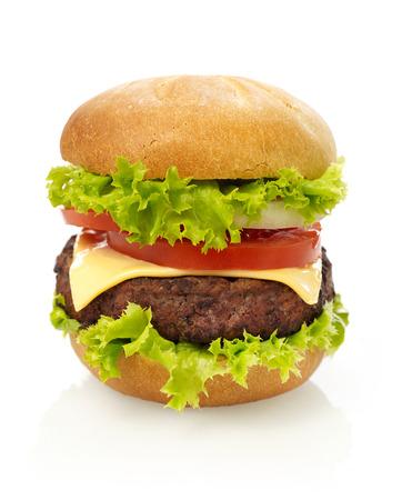 white cheese: Cheeseburger isolated Stock Photo