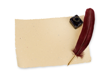 vintage document: Quill, manuscript and ink well