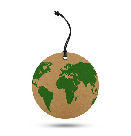 World map on label Stock Photo
