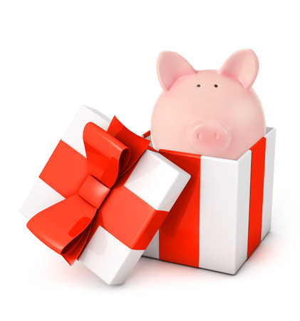 digitally generated image: Gift box with piggy bank
