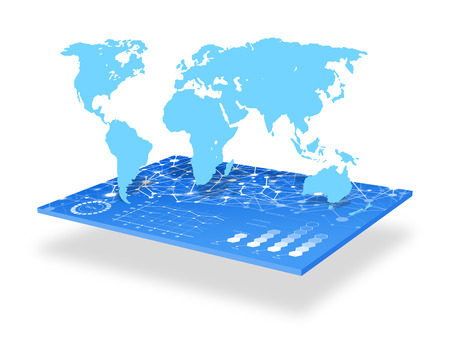 interactivity: Futuristic world map interface concept Stock Photo