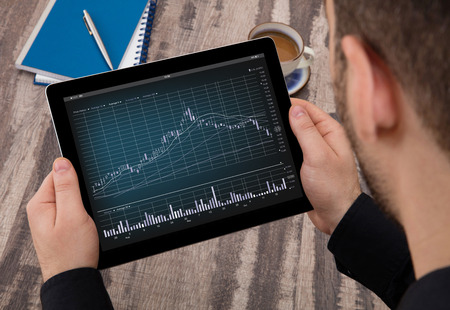 interactivity: Stock chart analyzing Stock Photo