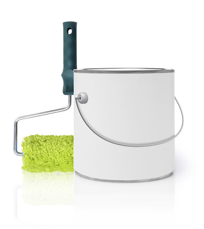 paint can: Paint roller and paint can Stock Photo