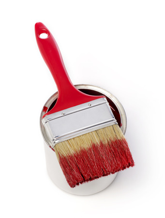 paint can: Paintbrush and paint can
