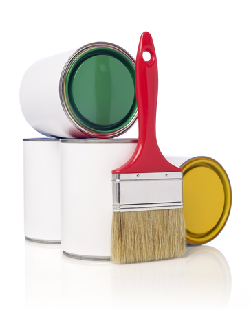 paint cans: Paintbrush and paint cans