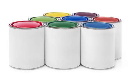 paint cans: Multi-colored paint cans Stock Photo