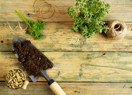 potting: Potting plants, shovel and rope