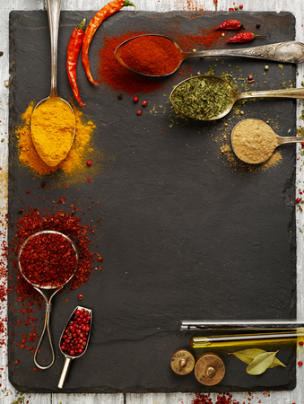 high angle: Variation of spices with copy space