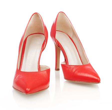 peep toe: Red high heels