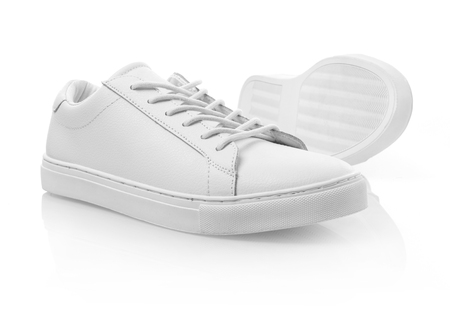 shoelace: White sneakers isolated Stock Photo