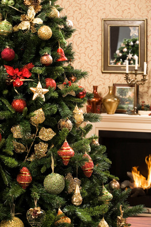 topper: Christmas tree by the fireplace