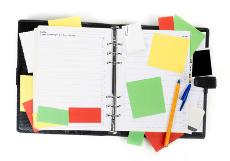 attached: Notebook and sticky notes