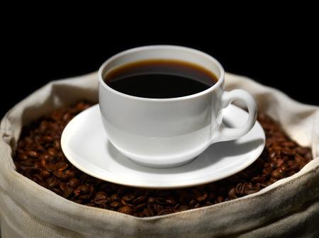 Coffee cup on a coffee bag