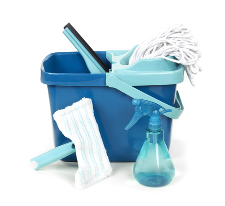 Plastic bucket and cleaning products Stock Photo
