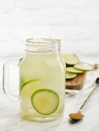 Fresh lime drink with brown sugar Stock Photo