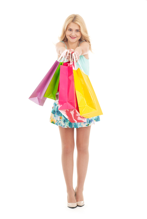 Girl with multi-colored shopping bags
