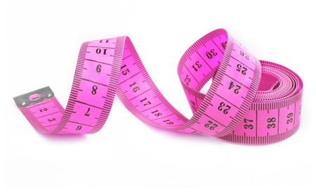 Pink tape measure Stock Photo