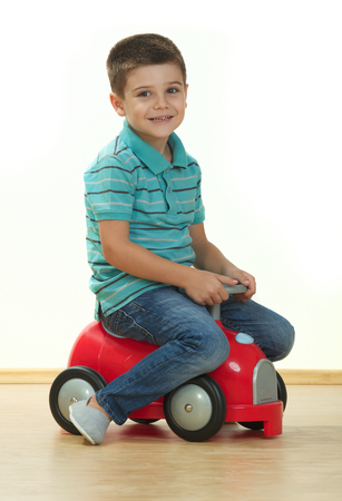 Young boy with toy car Stock Photo