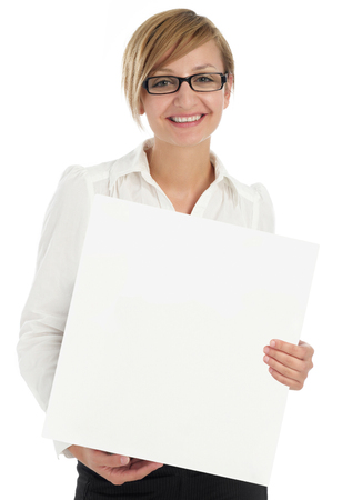 Businesswoman with placard