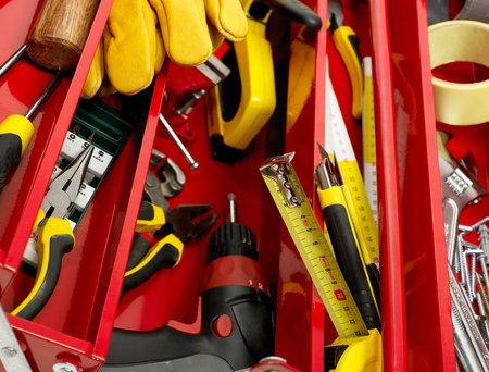 new addition: Toolbox close-up Stock Photo