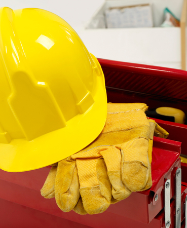 Hardhat and protective gloves