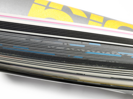 printout: Pages on magazine close-up