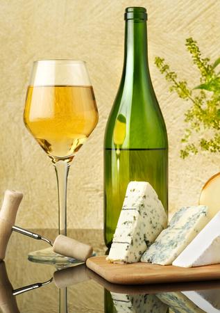 White wine and cheese Stock Photo