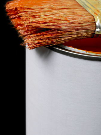 decorating: Paint can and paint brush close-up