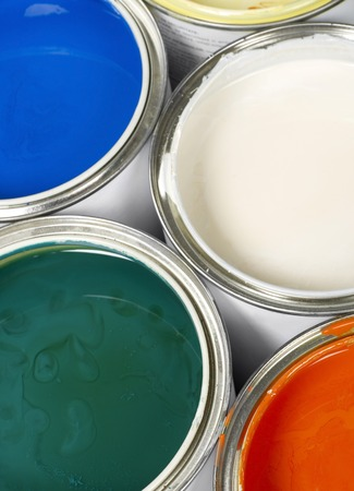 decorating: Paint cans close-up Stock Photo