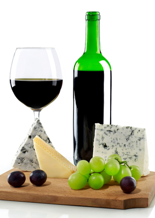 Wine, grapes and blue cheese