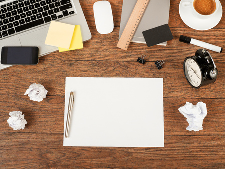 Blank paper on office table Stock Photo