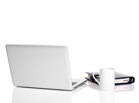 Office desk on white Stock Photo