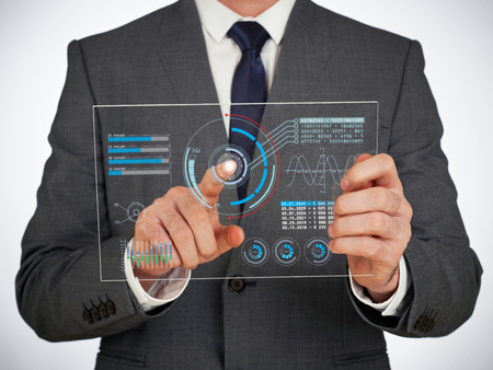 Businessman using a digital virtual screen