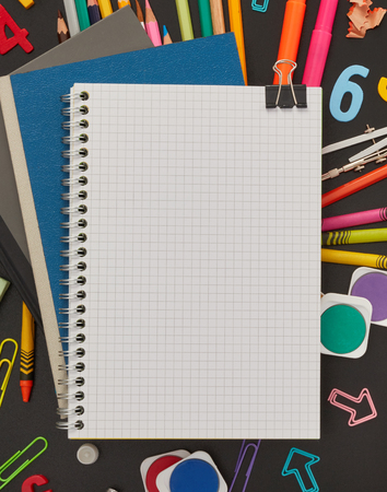 Blank notebook and supplies