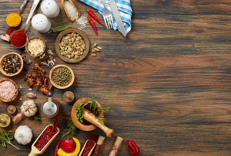 Cooking ingredients on wood