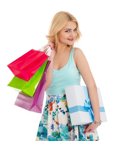 Shopping girl on white Imagens