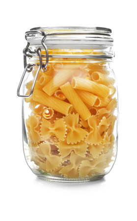 Pasta jar isolated Stock Photo