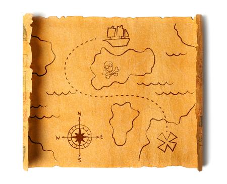 Pirate treasure map isolated Stock Photo