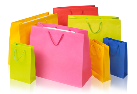 Multi-colored bags isolated Stock Photo