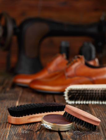 Shoe care products and leather shoes Stock fotó