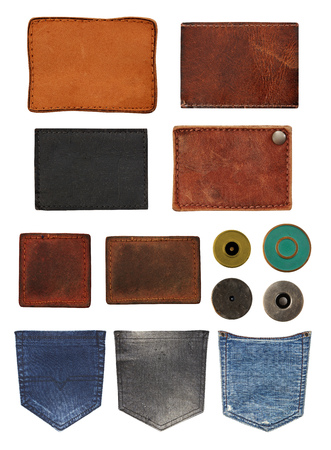 Jeans labels, back pockets and buttons
