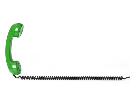 Telephone receiver and cord 写真素材 - 118908608